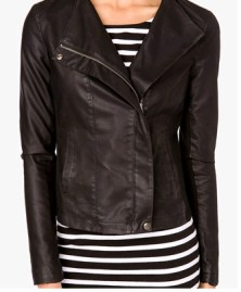 Faux Leather & Knit Moto Jacket FOREVER21